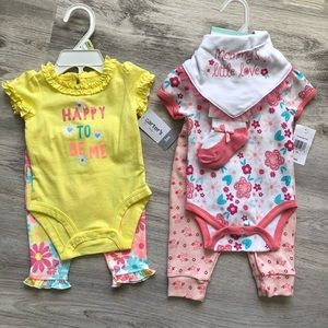 Baby girl summer outfit set 0-3 3 months bundle